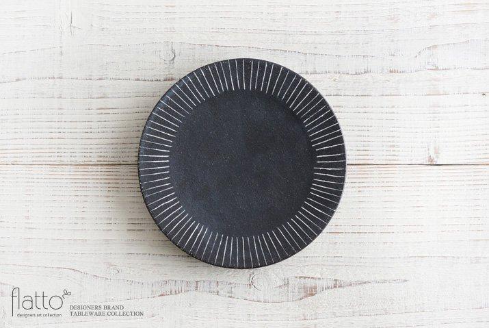 奥田章|黒十草リバーシブル皿19cm