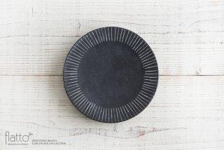 奥田章|黒十草リバーシブル皿19cm|中皿