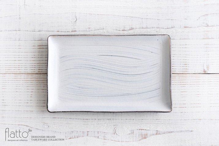 奥田章|刷毛目 幅広角皿