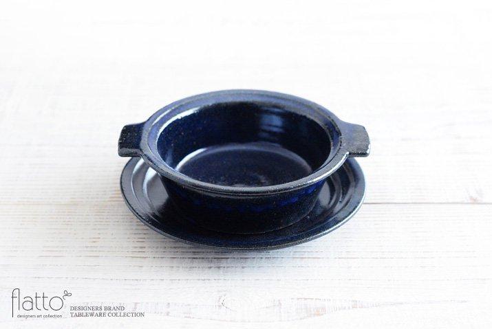 瑠璃釉耐熱 耳付グラタン皿 作家「古谷浩一」