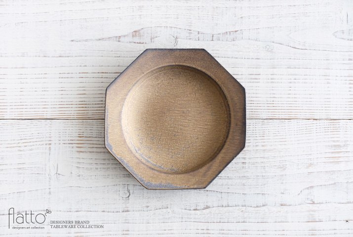 銅彩釉 八角皿(中) 作家「水野幸一」