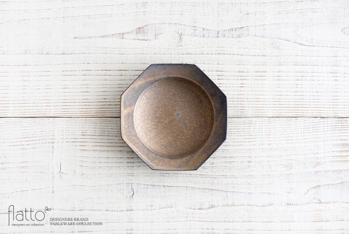 銅彩釉 八角皿(小) 作家「水野幸一」