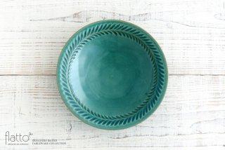 市野耕|トルコブルー 7寸葉紋皿