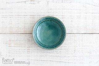 トルコブルー 4寸葉紋皿 作家「市野耕」