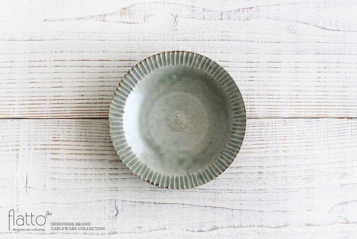 市野耕|灰釉 5寸リム鎬皿