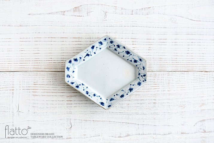 石井桃子|花唐草 ひし形皿