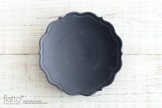 木下和美|黒釉輪花プレート(24cm)