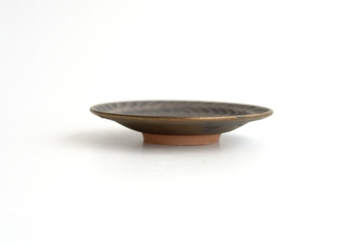 マンガン釉 4寸葉紋皿|市野耕|豆皿・小皿-03