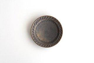 市野耕|マンガン釉 4寸葉紋皿|豆皿・小皿