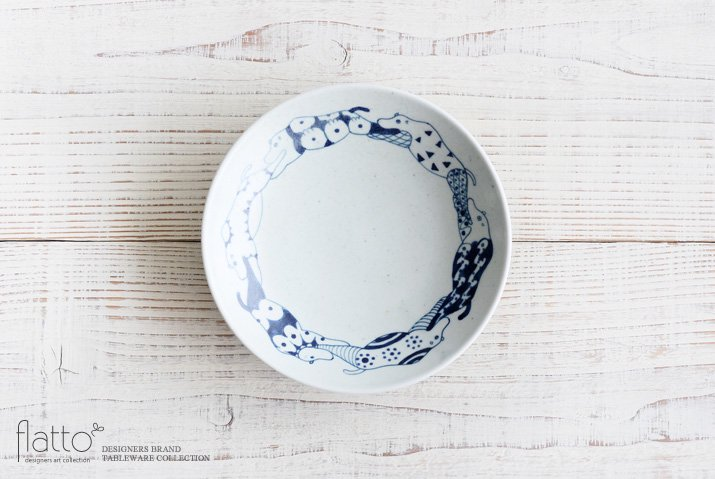 動物紋 6寸皿(草食動物) 作家「石井桃子」