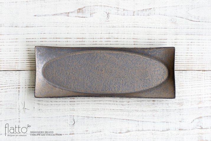 水野幸一|銅彩釉スクエアオーバルプレート(小)