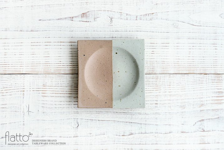 ツートン角皿(こげ茶・小) 作家「水野幸一」