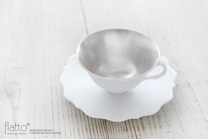 木下和美|白磁銀彩 ティーカップ&ソーサー(L)-02