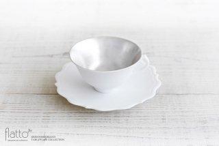 木下和美|白磁銀彩 ティーカップ&ソーサー(L)
