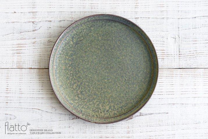 福井亜紀|26cm丸皿(緑砂)