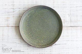 26cm丸皿(緑砂) 作家「福井亜紀」