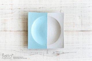 水野幸一|ツートン角皿(青×白・中)