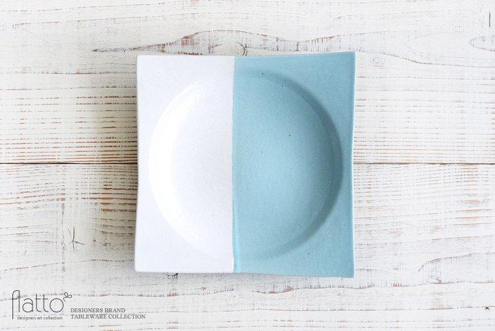 水野幸一|ツートン角皿(青×白・大)