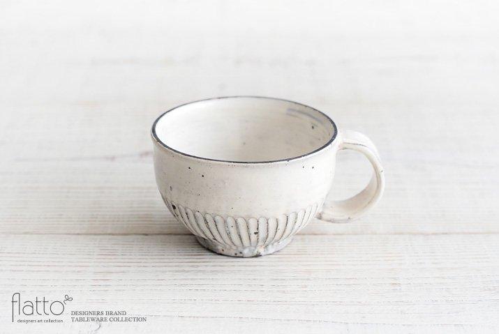 加藤祥孝|粉引しのぎ丸スープカップ