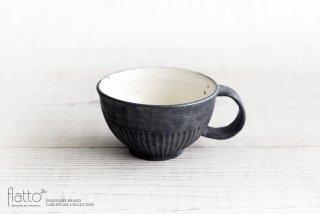 加藤祥孝|粉引/鉄釉しのぎ丸スープカップ