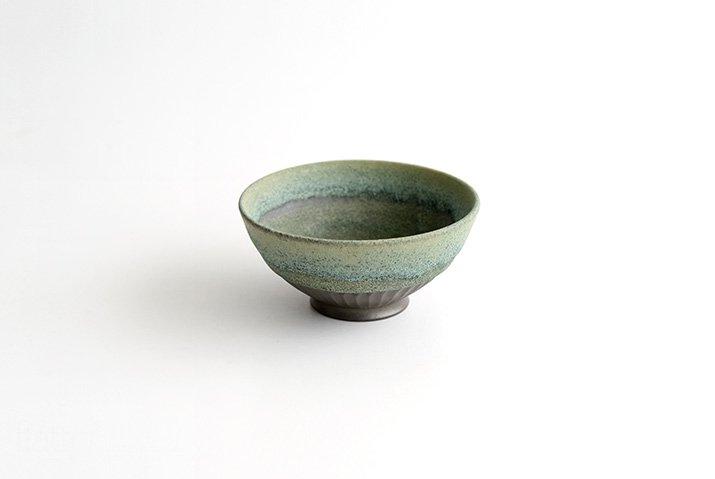 しのぎ飯碗(緑砂)|福井亜紀|飯碗