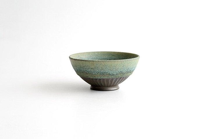 しのぎ飯碗(緑砂)|福井亜紀|飯碗-04