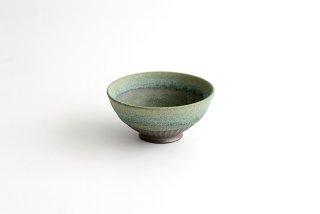 福井亜紀|しのぎ飯碗(緑砂)