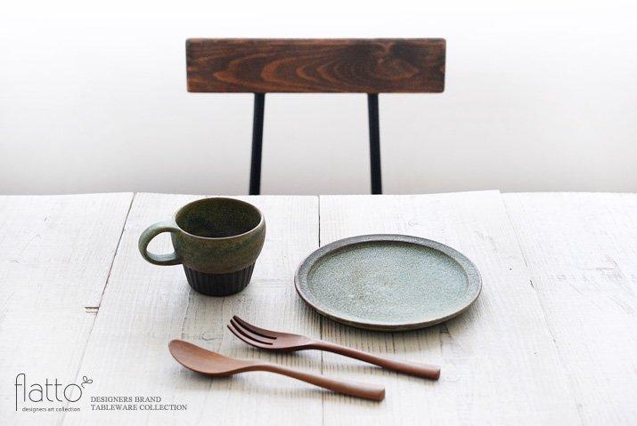 福井亜紀|18cm丸皿(緑砂)-03