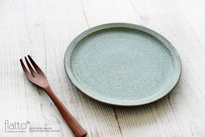 福井亜紀|21cm丸皿(緑砂)-02