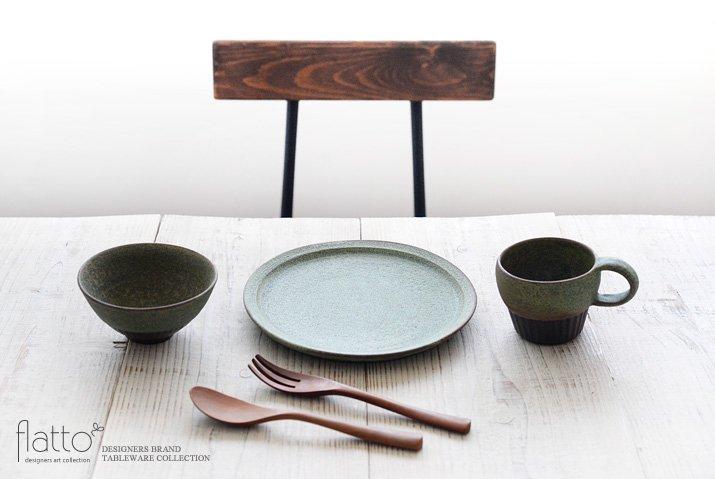 福井亜紀|21cm丸皿(緑砂)-03
