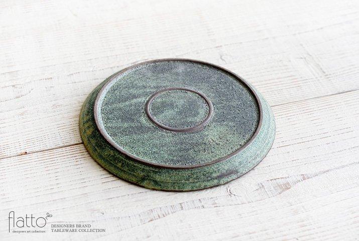福井亜紀|21cm丸皿(緑砂)-04