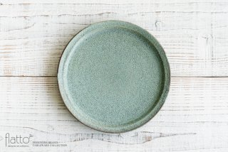 21cm丸皿(緑砂) 作家「福井亜紀」