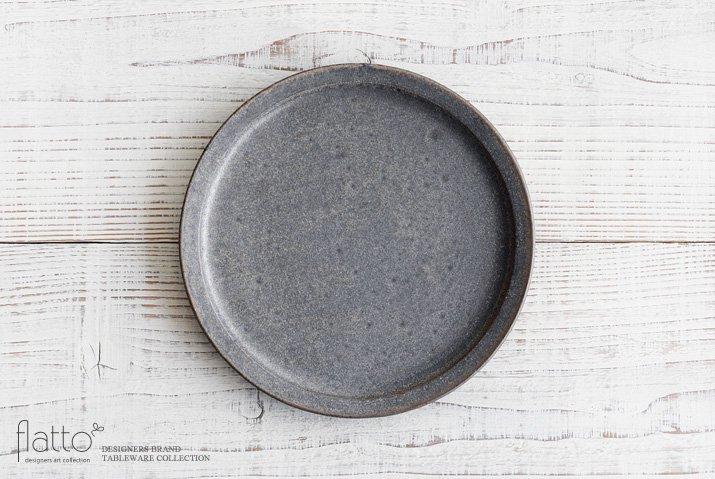 福井亜紀|21cm丸皿(灰砂)