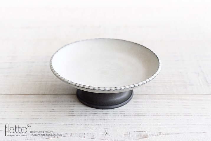 しのぎコンポート皿18cm(白) 作家「福井亜紀」