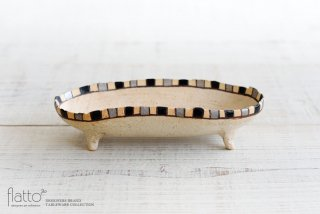 トキノハ|iroe 粉引色絵楕円鉢(S・縞・黒銀)