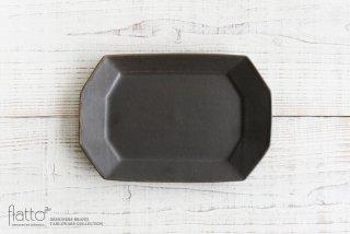 古谷浩一|錆釉 八角長方皿(小)|和食器