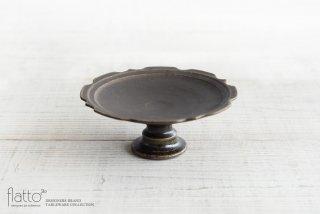 古谷浩一|錆釉 彫刻コンポート皿 18cm