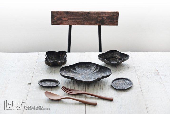安福由美子 錆波紋オーバル豆平皿-03