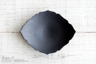 木下和美|黒釉輪花ひし形皿(L)
