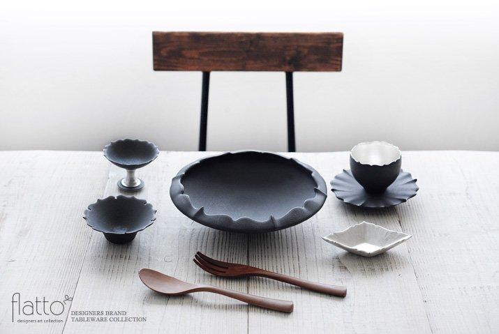 木下和美 黒釉輪花鉢-蕾-(L)-03