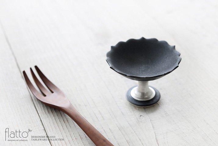 木下和美|黒釉銀彩豆コンポート-02