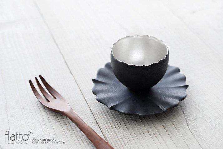 木下和美|黒釉銀彩 azamiカップ&ソーサー-02