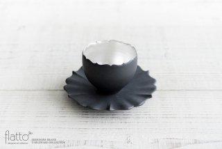 木下和美|黒釉銀彩 azamiカップ&ソーサー