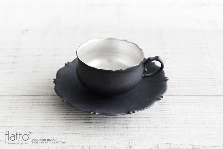 木下和美 黒釉銀彩 azamiティーカップ&ソーサー
