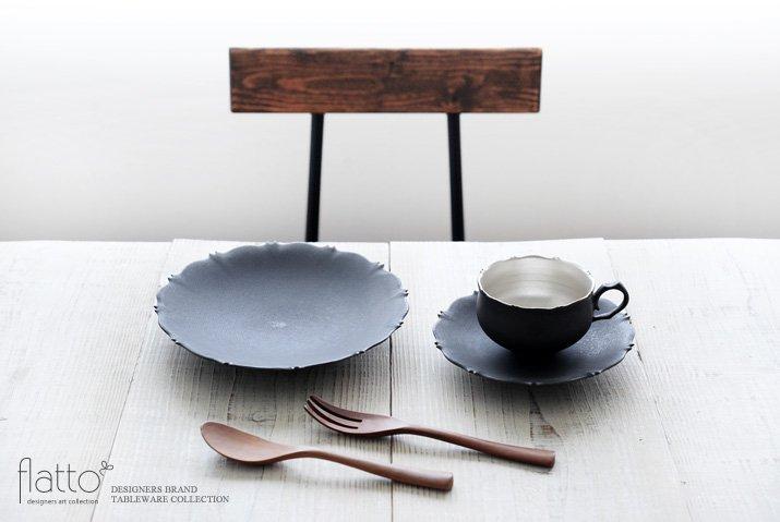 木下和美 黒釉銀彩 azamiティーカップ&ソーサー-03