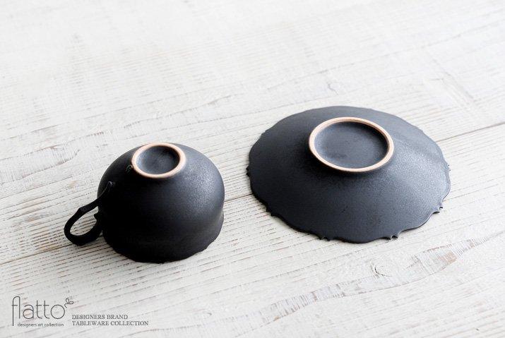 木下和美 黒釉銀彩 azamiティーカップ&ソーサー-04
