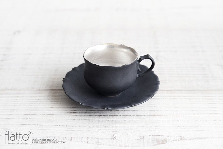 木下和美|黒釉銀彩 azami デミタスカップ&ソーサー