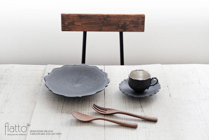 木下和美|黒釉銀彩 azami デミタスカップ&ソーサー-03
