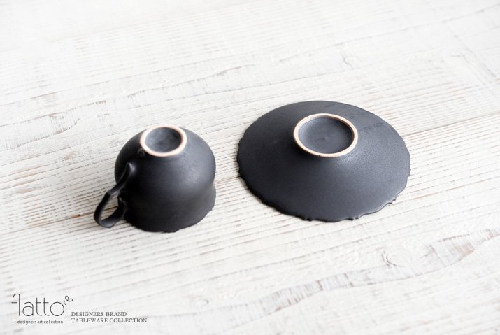 木下和美|黒釉銀彩 azami デミタスカップ&ソーサー-04