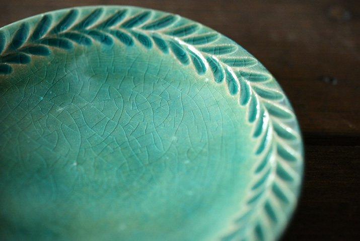【WEB展示会】|市野耕|トルコブルー 4寸葉紋皿-02